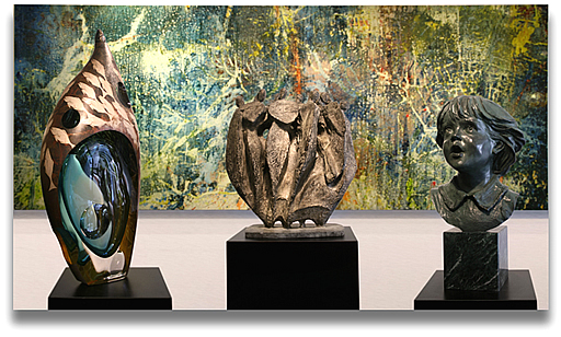 PAUL TAMANIAN PAINTING, LEFT-HIROSHI YAMANO GLASS, CENTER-PEDRO PEDRAZINNI SCULPTURE, RIGHT-GLENNA GOODACRE SCULPTURE