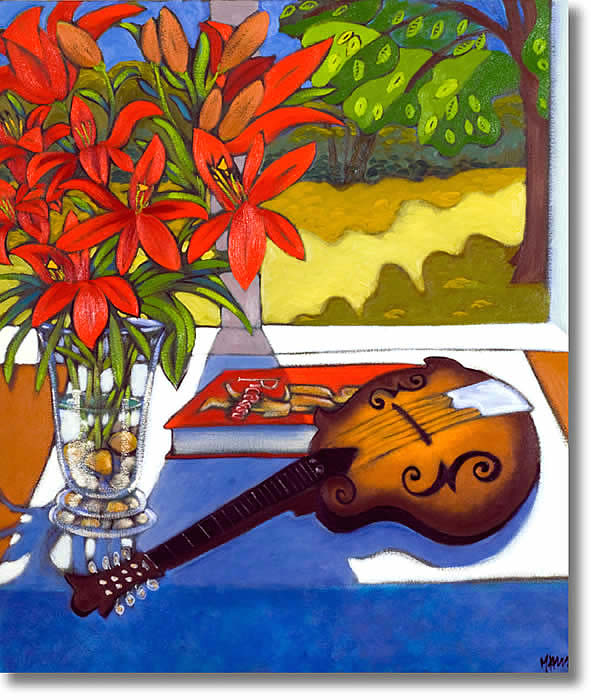 MARSHA HAMMEL STILL LIFE WITH RED LILIES AND MANDOLIN